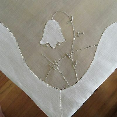 Vtg SNOWDROPS ORGANDY EMBROIDERED PLACEMATS NAPKINS TEA TABLECLOTH RUNNER Euc