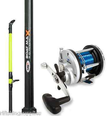 Brand New 25Lb 6Ft 2 Piece Boat Rod And Jd300 Multiplier Reel Sea Fishing