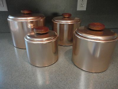 Vintage Mirro Pink Canister set of Four With Lids