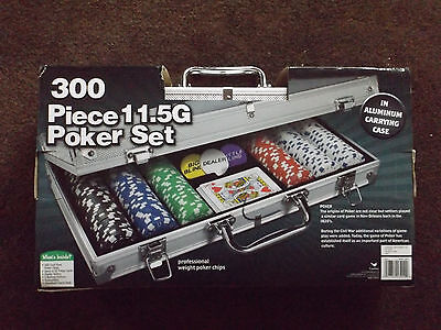 300 11.5G Holdem Poker Chip Set with Aluminum Case PROFESSIONAL WEIGHT NIB
