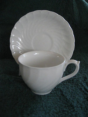 BurleighWare Queen's White demitasse cup and saucer set Burslem England Burgess