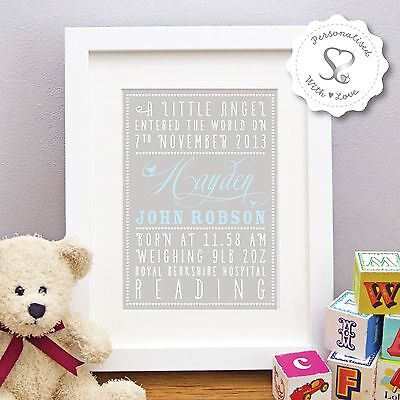 Personalised New Baby Birth Boy Girl Christening Print or Framed Picture Gift