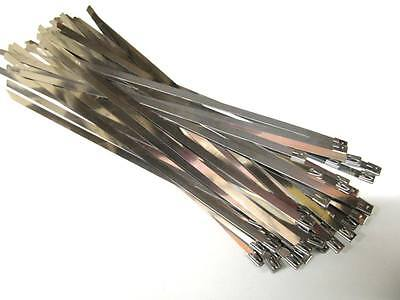 50 x STAINLESS STEEL CABLE TIES - WIDE Size 7.9mm x 360mm (Exhaust Heat Wrap)