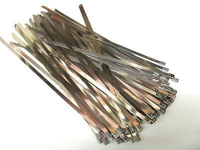 100 x STAINLESS STEEL CABLE TIES - WIDE Size 7.9mm x 360mm (Exhaust Heat Wrap)