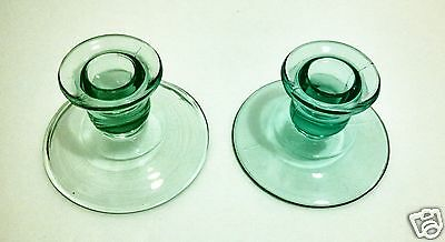 Vintage GREEN Depression Glass Candlestick Candle Holders GLOW in Black Light
