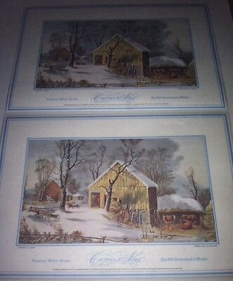"2 Currier & Ives VTG Placemat The old homestead"" American Winter scene 17""x12"""