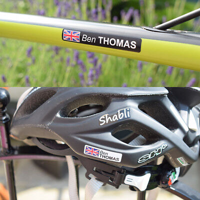 4x Personalised Road/Mountain/BMX Bike/Helmet Frame Name Stickers Decals + Flag