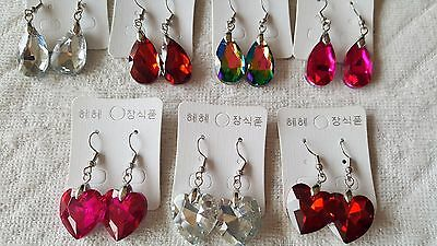 Joblot 35 Pairs Mixed Colour Glass Crystal  Earrings - NEW wholesale