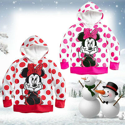 1-6T Minnie Mickey Hoodie Coat Baby Girls Kids Blouses Tops Hooded Pullover