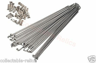 72 X Stainless Steel Spokes 290mm 14g 2.0mm Brass Nipples MTB Road BMX Bicycle