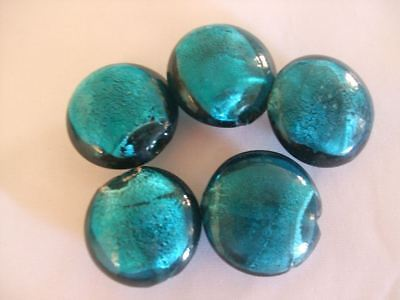 Pack of 5 Handmade Glass Lampwork Beads - Green Silver Foil Discs - Approx 25mm