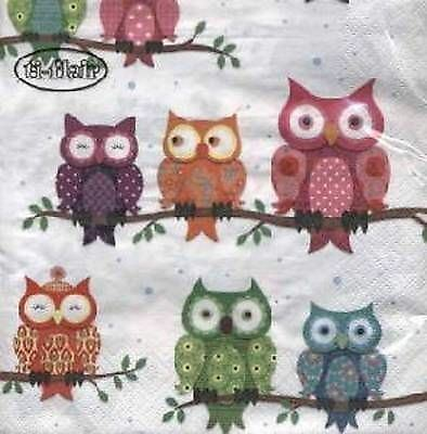 4 x Paper Napkins- Owls -Ideal for Decoupage / Decopatch [1660920]