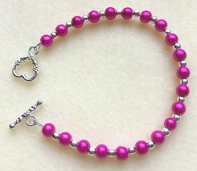 Beautiful Glass Pearl and Silver Ball T-Bar Bracelet - Various Colours