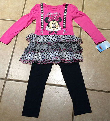 Minnie Mouse Girls 2-Pc Love Fuchsia Top Shirt and Mouse Ears Legging Set SZ 4-6X