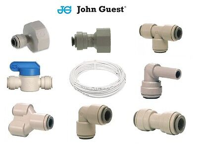 "1/4"" Water Filter Push In John Guest Push Fit Tap Connectors Filter Tubing White"