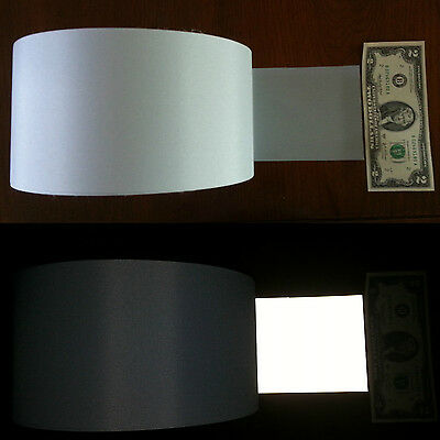 """4/"""" x10ft//20ft//30ft//20yd//30yd++ Safety Silver Reflective TC Fabric sew on tape"""