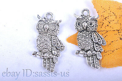 10S 24mm Charm 3D owl pendant Diy Jewelry Bracelet Necklace Tibet Silver 7053