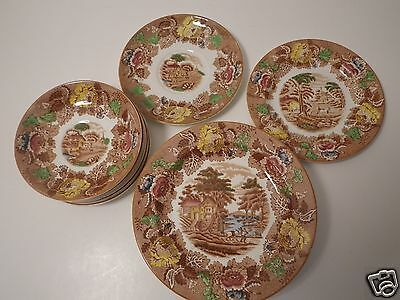 Lot/16 Pieces Antique English Scenery-Light Brown-Multicolor WOOD & SONS, ENOCH