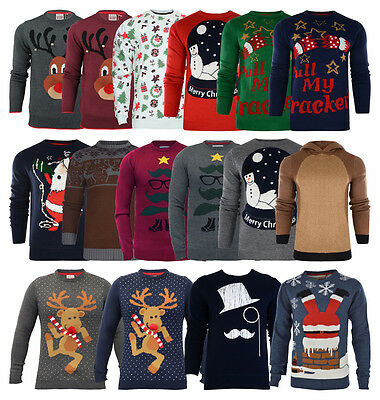 New Mens Jumpers Christmas  Xmas Novelty 3D Knitted Santa Snowman Top Size D3