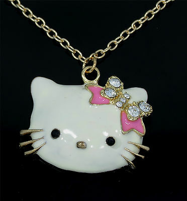 New Cute Gold Tone White Enamel Hello Kitty Pendant  Necklace Pink Bow tie