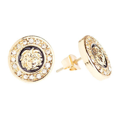 Iced Out Bling Ohrstecker Box - MEDUSA gold 14mm