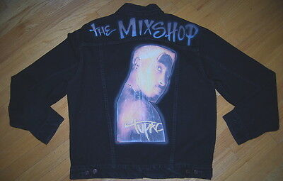 Vintage DIY TUPAC SHAKUR The Mixshop HIP HOP Rap Unlined LEVIS Denim Jacket L