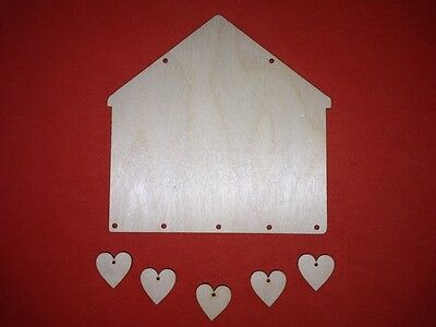 2 sets of SWEET HOME PLAQUES & hearts PLAIN UNPAINTED BLANK WOODEN SHAPE HANGING
