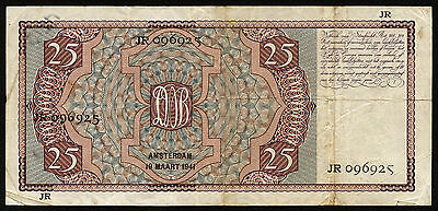 Niederlande / Netherlands 25 Gulden 1941 JR  Pick 50  (3-) VF-