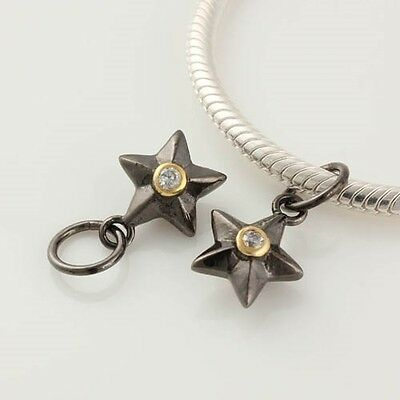 1 x Sterling Silver 18k Gold Pl Rhodium Star CZ Dangle Bead For Charm Bracelet