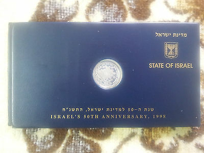 ISRAEL 50th 1998 Folder 1 Silver Coin And Stamp 50 Sekel Note Day Issue *RARE*