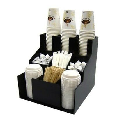 Cup & Lid Dispenser Organizer Coffee Condiment Holder Caddy Coffee Cup Rack