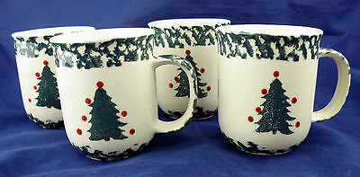 EUC Set Of 4 Tienshan Folk Craft WINTER WONDERLAND coffee mugs Christmas Tree