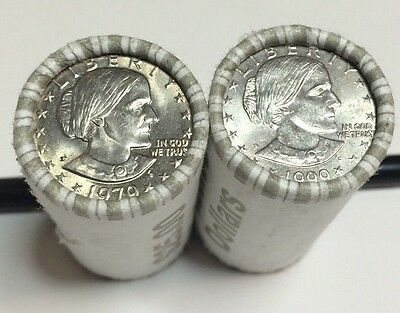 $25 Sealed Susan B Anthony Dollar Rolls - 1979 Wide Rim 1980 1981 1999 possible