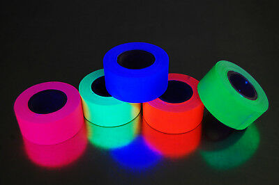 5 Pack 1 Inch Blacklight Reactive Fluorescen​t Gaffer Tape 5 Rolls x 6 Yards