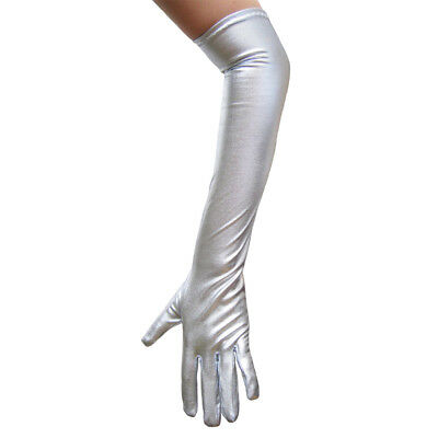 Shiny Long Elbow Length Silver Metallic Gloves ~PROM DANCE WEDDING COSTUME PARTY