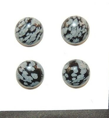 Snowflake Obsidian Cabochons 10mm  Set of 4 (7969)