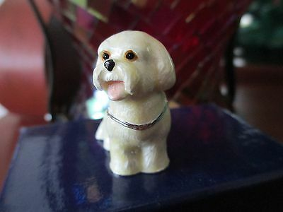 Tillie ~Bichon Puppy ~ Jeweled & Enamel Trinket Box ~ Boutique Miniature 61128