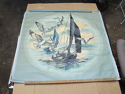 Vintage Signed Nautical Seagulls Sailboat Oil Painting On Canvas Dickinson