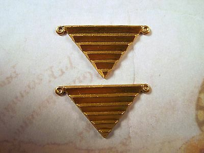 Raw Brass Art Deco Triangle Connector Stampings (2) - S6885