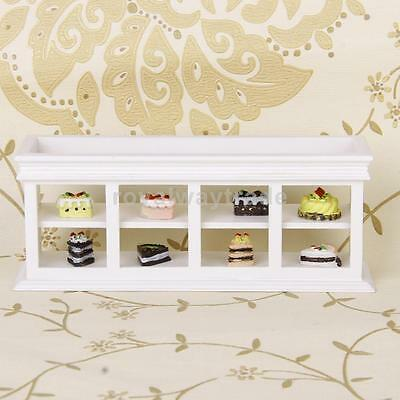 1/12 Dollhouse Miniature White Food Cake Display Cabinet Counter Shop Accessory