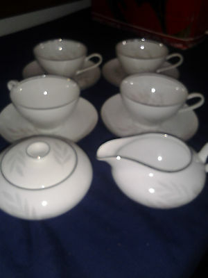 KPM Krister Set of 4 Cup & Saucers with Creamer and Sugar Bowl with Lid B