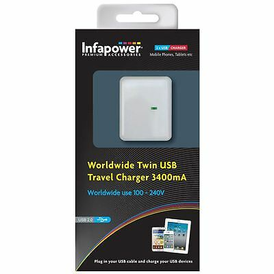 Infapower P024 Worldwide Twin USB Universal Travel Charger Adapter 3400mA New