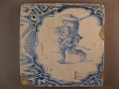 Antique Dutch waster tile human very rare 17th century --> free shipping