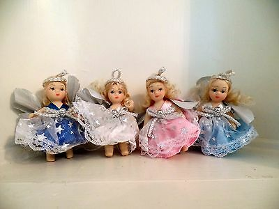 """3"""" Thai Porcelain Dolls / Ornaments Silver Angel Wings Set of Four (New)"""