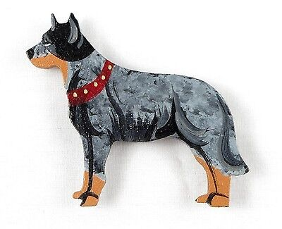 Wooden Dog Magnet Australian Cattle Dog Hand Painted by Classic Dandy Design New