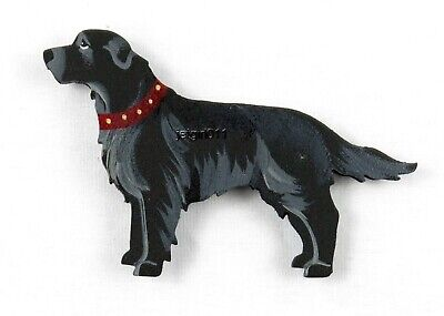 Wooden Dog Magnet Flat Coat Retriever Hand Painted by Classic Dandy Design New