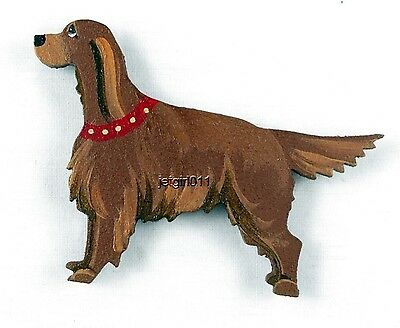 Wooden Dog Magnet Irish Setter #278 Hand Painted by Classic Dandy Design Dog New