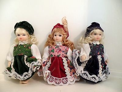 """4"""" Thai Porcelain Cabinet Dolls Velvet Lace-trimmed Outfits Set of Three (New)"""