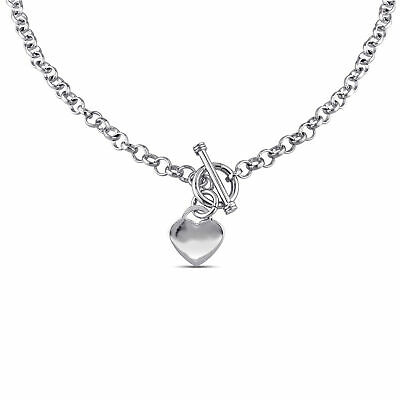 """Sterling Silver 18"""" Necklace with Toggle Clasp & Love Heart Charm"""