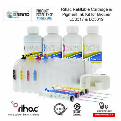 RIHAC Refill Ink for HP 564 Officejet 4620 E910 Deskjet 3520 3070A CISS Bulk Ink